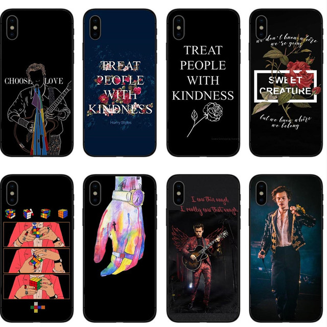 Aliexpress.com : Buy Harry Styles Treat People With Kindness Black Soft silicone TPU Phone Case Cover For iPhone X 5S SE 6 6SPlus 7 8 Plus XR XS Max from ...