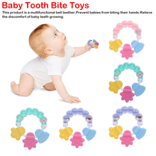 1 piece Baby Silicone Teether Teething Biting baby Rattle Toy 3 colors Handbell Jingle Toys