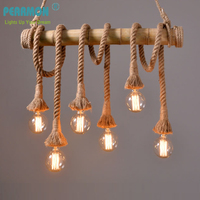 Retro 4 6 Heads Rope Pendant Lights Loft Vintage Restaurant Bedroom Diningroom Pendant Lamp Hand Knitted