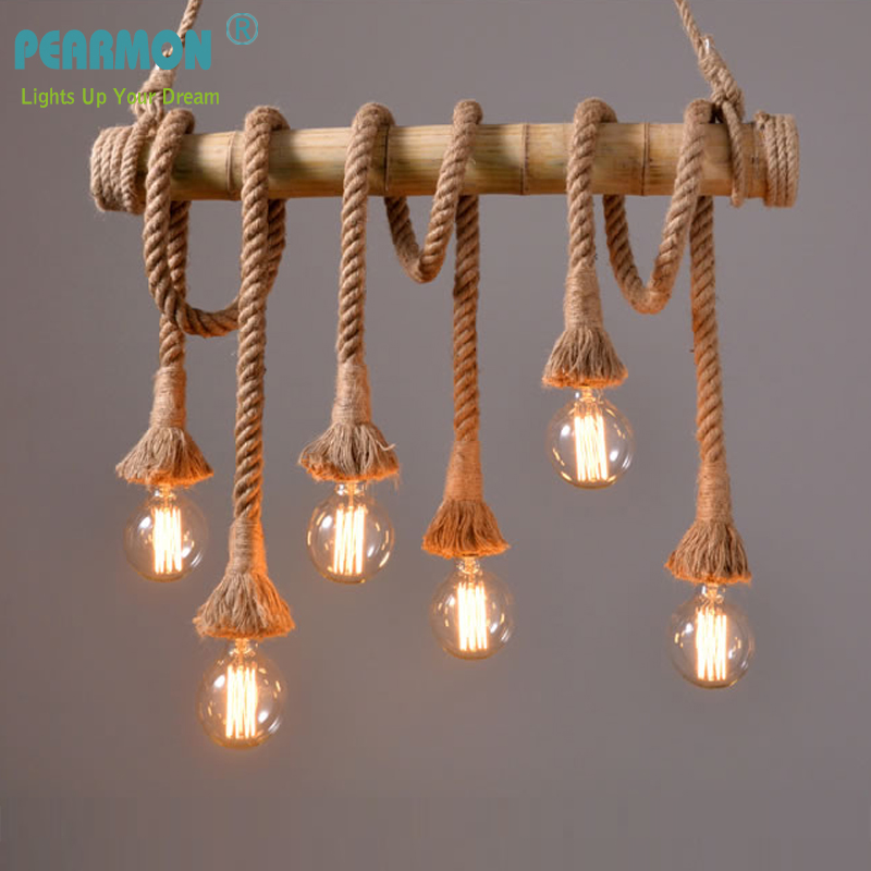 Retro Hemp Rope Chandelier Lights Loft Vintage Bamboo Hemp Rope Pendent Light Restaurant Bedroom