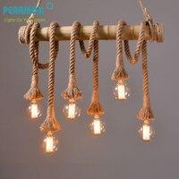 Retro Hemp Rope Chandelier Lights Loft Vintage Bamboo Hemp Rope Pendent Light Restaurant Bedroom Diningroom Pendant Lamp Offices