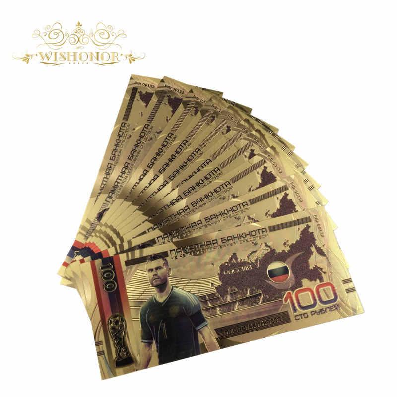 10 шт./лот новый стиль 24 К золото банкноты Россия футбольная команда банкноты 100 рублей поддельные деньги Позолоченные коллекция бизнес подарок
