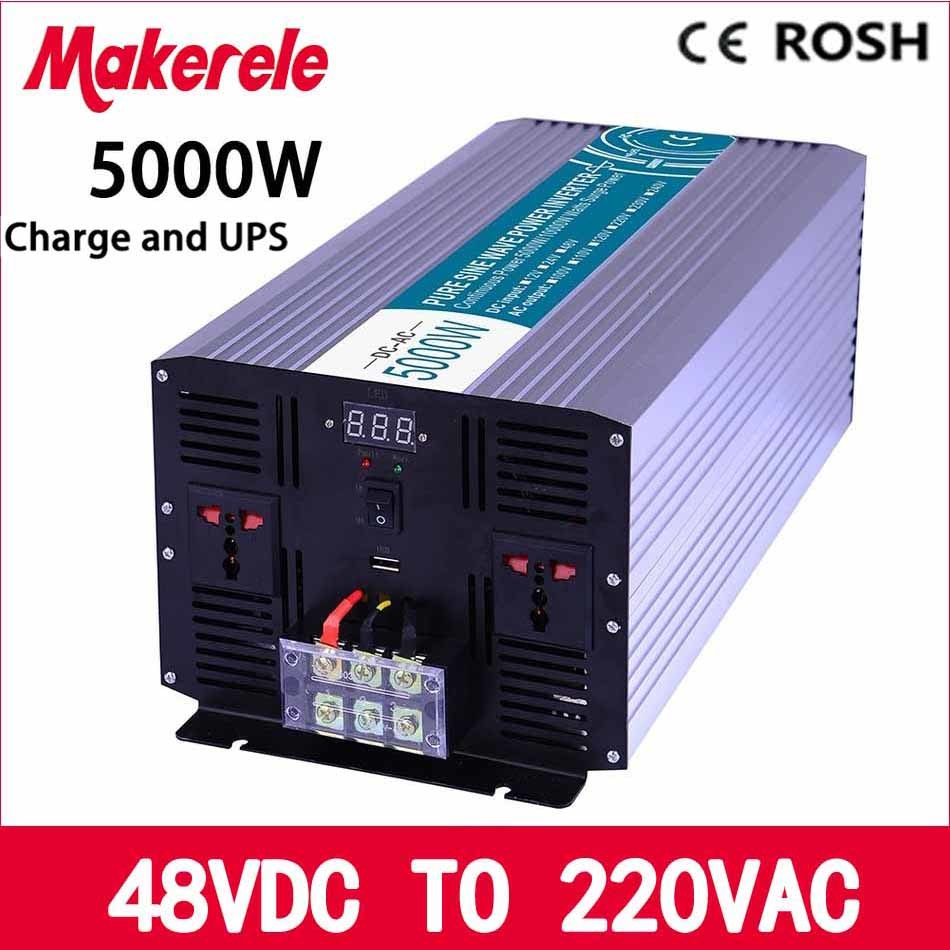 MKP5000-482-C dc to ac UPS power inverter 5000w 48v to 220v,Pure Sine Wave solar inverter voltage converter with charger and UPS solar power on grid tie mini 300w inverter with mppt funciton dc 10 8 30v input to ac output no extra shipping fee