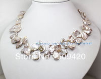 FREE SHIPPING>>@> HOTnatural luster lilac keshi reborn pearl necklace stone 18 fashion jewelry