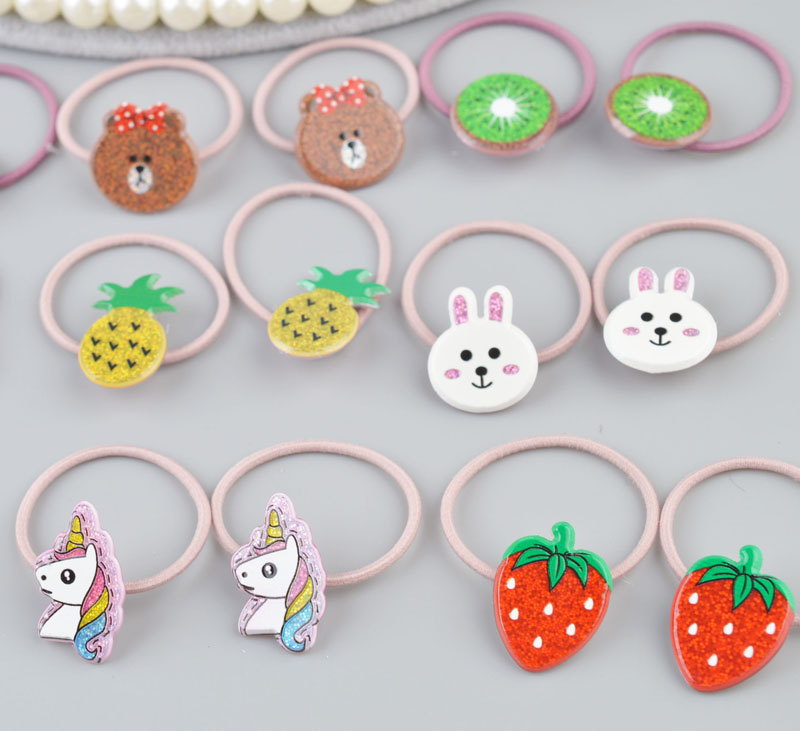 Girls Hair Accessories Fashion Colorful elastic hair Rubber bands Carton ornaments Ponytail holder hair Mini.   headwear