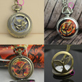 retro 2 two bronze vintage fashion cool bird quartz the hunger games pocket watch wholesale low price good quality cheap hot