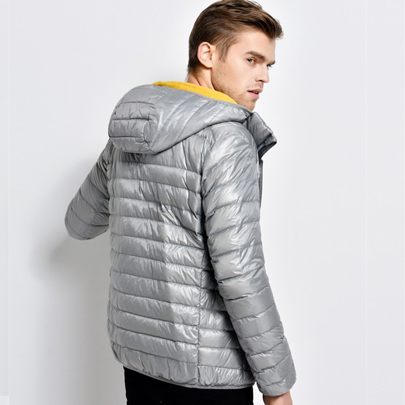 Hooded ultra thin lightweight white duck   down   jackets men   down     coats   2018 autumn new arrival plus size S - 5XL