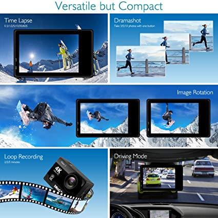 Drachen Touch 4K Action Kamera 16MP Vision 3 Unterwasser Wasserdichte Kamera 170 ° Weitwinkel WiFi Sport Cam mit fernbedienung