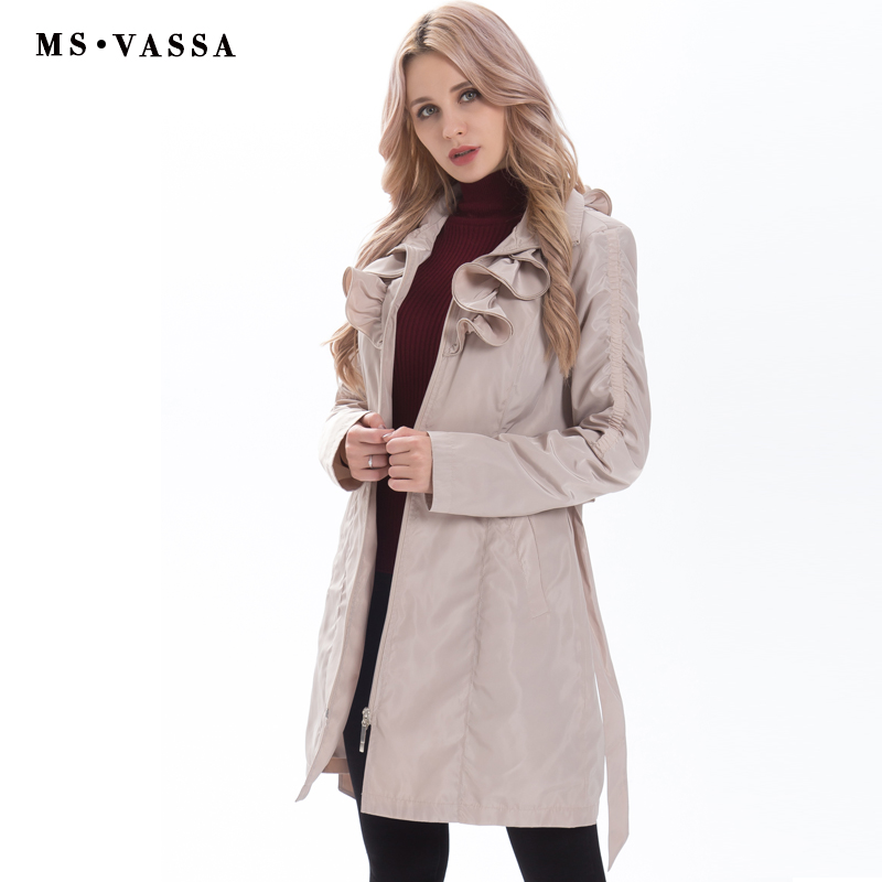 New Spring Women coat fashion trench coat plus size adjustable waist belt fashionable slim fake memory ruffled collar outerwear