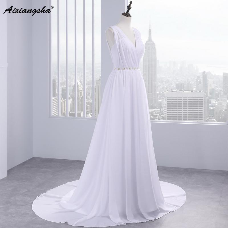Dress Bride Ivory Chiffon Open Back 2017 Greek Style Vestidos Wedding Dress Sleeveless Floor Length Sexy Wedding Dress 4