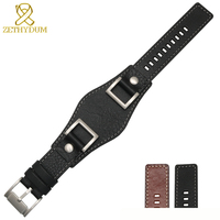 Genuine leather bracelet mans high grade watchband 24mm watch band with mat handmade double head layer cowhide watch strap