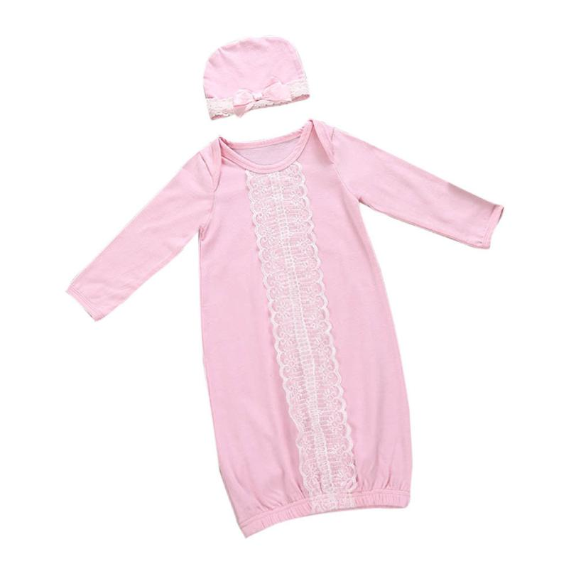 baby girl clothes Newborn Kids Baby Girls Lace Long Sleeve Pajamas Gown+Hat Outfits Clothes Set Bebek Giyim Clothing Costume