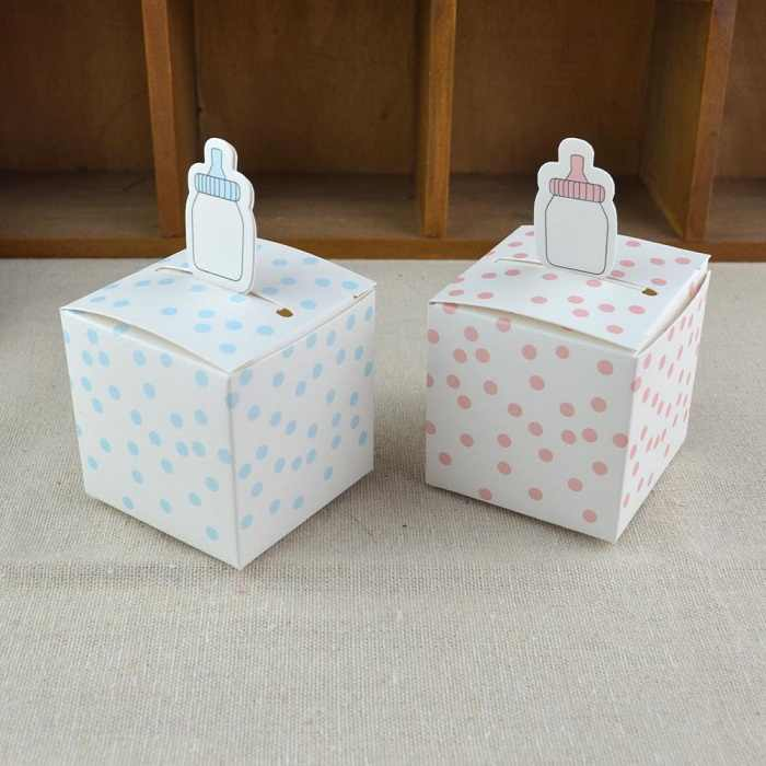 festival supplies candy box bag chocolate paper gift package for Birthday Wedding Party DIY dots/pink/blue/nursing bottle Wh