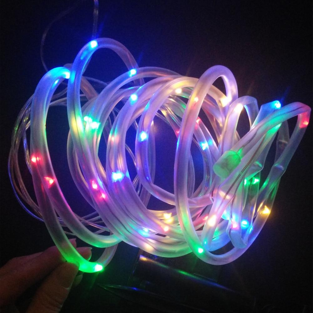 Solar Led Christmas Lights.Us 11 39 33 Off Yiyang Outdoor Solar Led String Lights Outdoor Solar Rope Tube Led String Solar Powered Fairy Lights For Garden Fence Landscape In