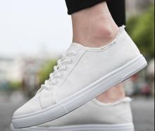 Парусиновая обувь, для мальчиков, Белая обувь, дышащая спортивная обувь, повседневная мужская обувь