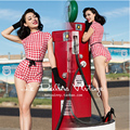 FREE SHIPPING Le Palais Vintage 2016 Summer New Arrival Sweet Sexy PIN UP Red White Plaid Short Sleeve High Waist Slim Jumpsuit