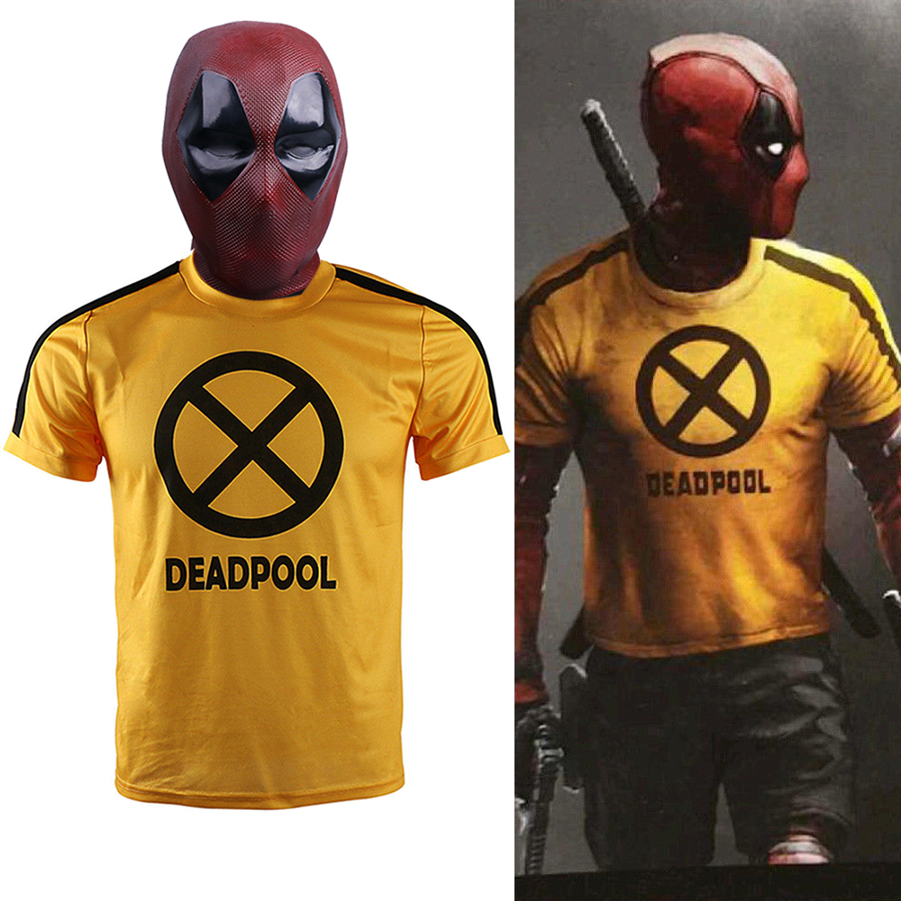 2018 Movie Deadpool 2 T-shirt Deadpool Mask Yellow Sleeve Cosplay Mens T-shirts Tee Shirts Costume Halloween