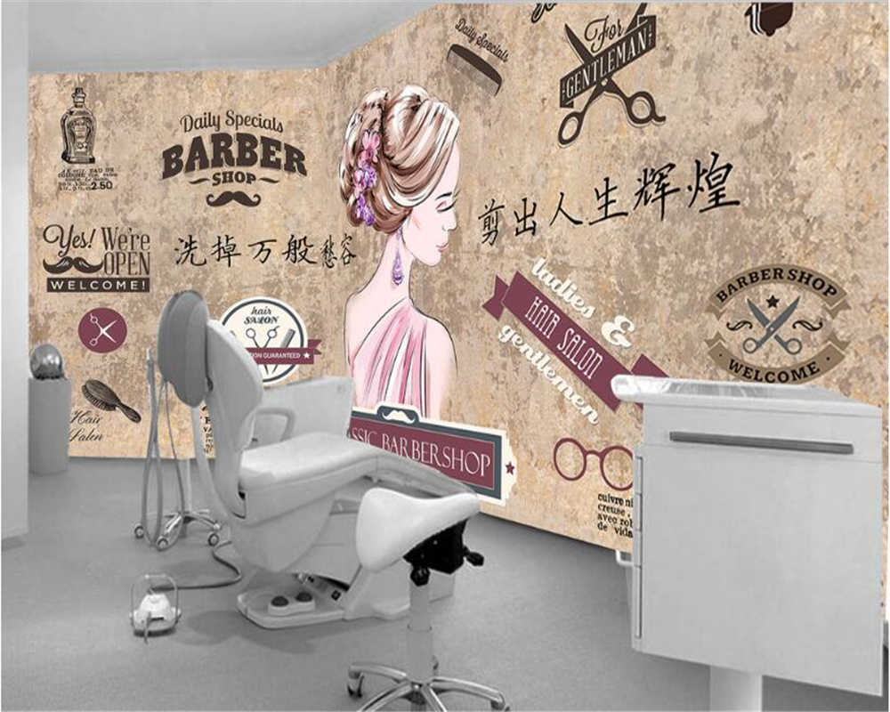 ... Beibehang 3D Wallpaper Fashion Personality Stereo Industrial Beauty  Salon Barber Shop Feng Shui Mud Papel De ...