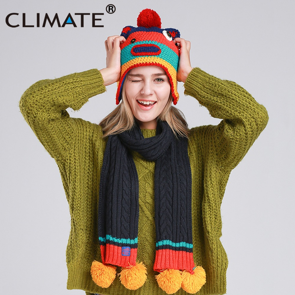 CLIMATE Women Winter Scarf And Hat Set Girls Winter Lovely Warm Knit Pompom Hat Scarf Set Cartoon Pompon Funny Warm Set