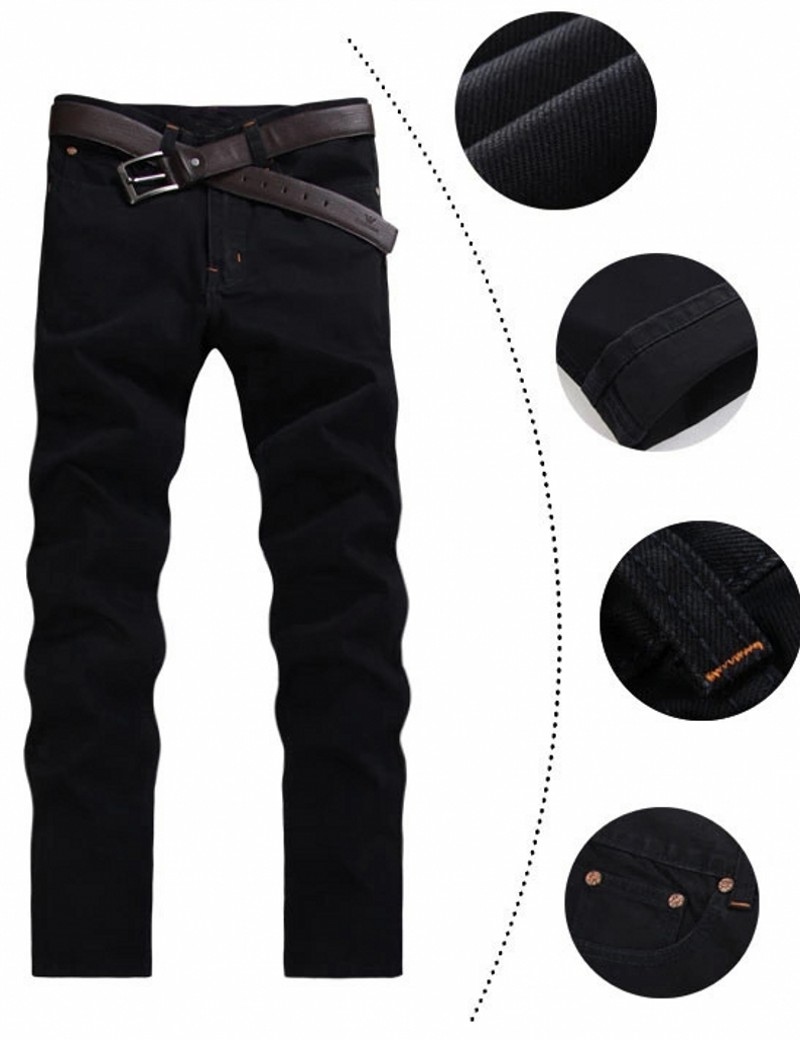9500bf2f Jeans For Men Without Belt 2016 New Arrival Casual Straight Pants Mid Waist  Fashion Black Color 28 38 Size,A8012-in Jeans from Men's Clothing &  Accessories