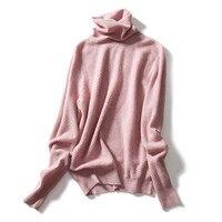 Новые модные 100% козья кашемир Палетка ребра вязать Женщины пуловер свитер Сваи воротник Розовый S/34 3xl/44