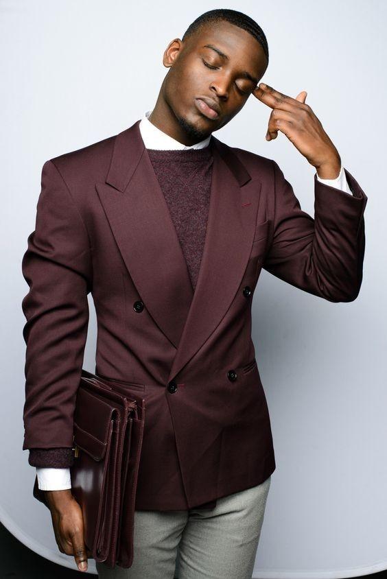 최신 코트 바지 디자인 부르고뉴 더블 브레스트 남자 정장 슬림 맞는 2 조각 턱시도 맞춤 패션 블레 이저 Vestidos 자켓 + 바지 15