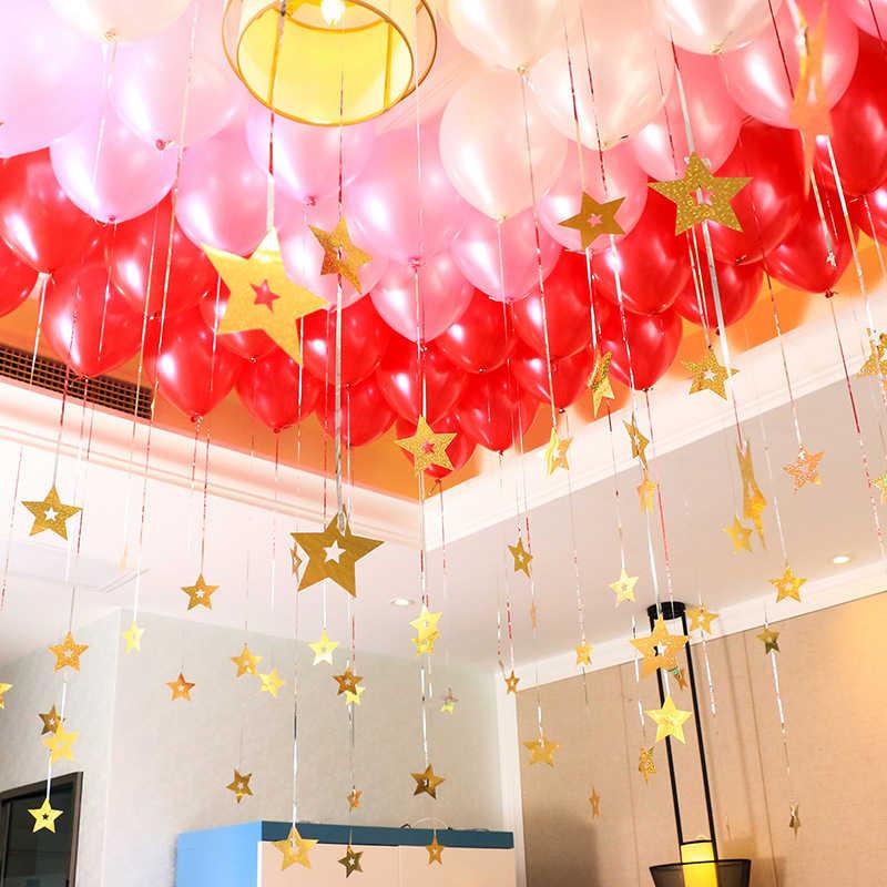 50 pz/lotto Star Laser Carta Pendente di Cerimonia Nuziale, Camera Matrimoniale Palloncino Accessori Per la Decorazione Giorno di San Valentino In Oro rosso Amore Star s Nastro