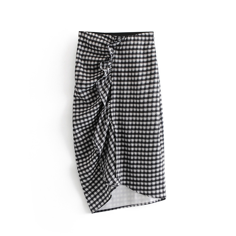 Hot Sale WF45-865 European And American Fashion Style Laminated Decorative Checked Bust Skirt
