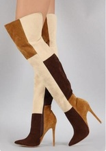 Winter Boots Women 2019 Denim Patchwork Overknee High Heel Pointed Toe Wide Calf Tight Customized Long