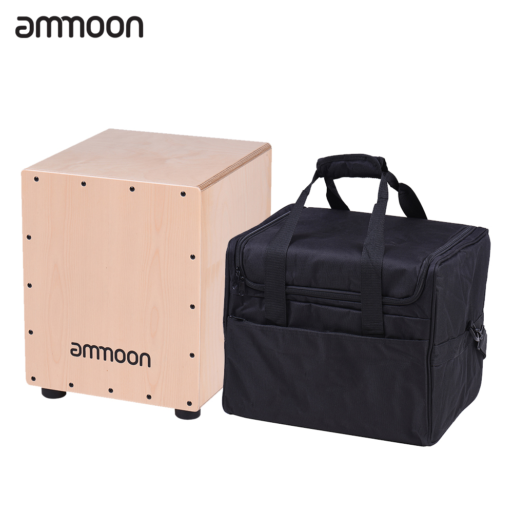 ammoon Medium Size Wooden Cajon Box Drum Hand Drum Percussion Instrument Birch Wood with Adjustable Strings Carrying Bagammoon Medium Size Wooden Cajon Box Drum Hand Drum Percussion Instrument Birch Wood with Adjustable Strings Carrying Bag
