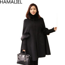 HAMALIEL Women Black Fur Collar Cloak Wool Coat 2017 Winter Cashmere Wool Long Sleeve Casual Poncho Warm Plus Size Cape Overcoat(China)