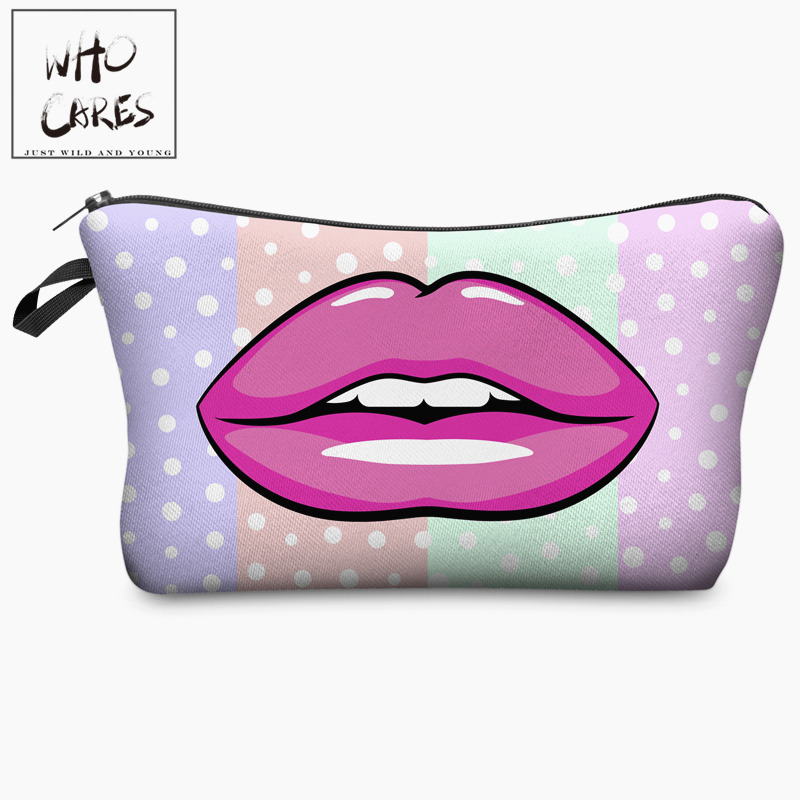 Red Vampire Lips Pink Lips Dot 3D Print Cosmetic Bag Women Makeup Organizer 2018 Who Cares Cosmetic Toiletry with Zipper Neceser who cares tropic hawaii with flamingo 3d printing cosmetic bag women fashion brand organizer neceser maquillaje girls makeup bag