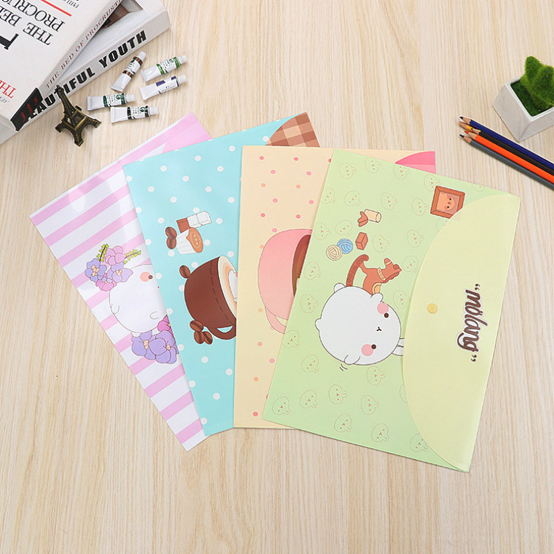 50 Pcs Durable Briefcase Folder Snap Floral File Bag Paper A4 School Stationery Store Office Supplies 8 Color Cartoon Folder