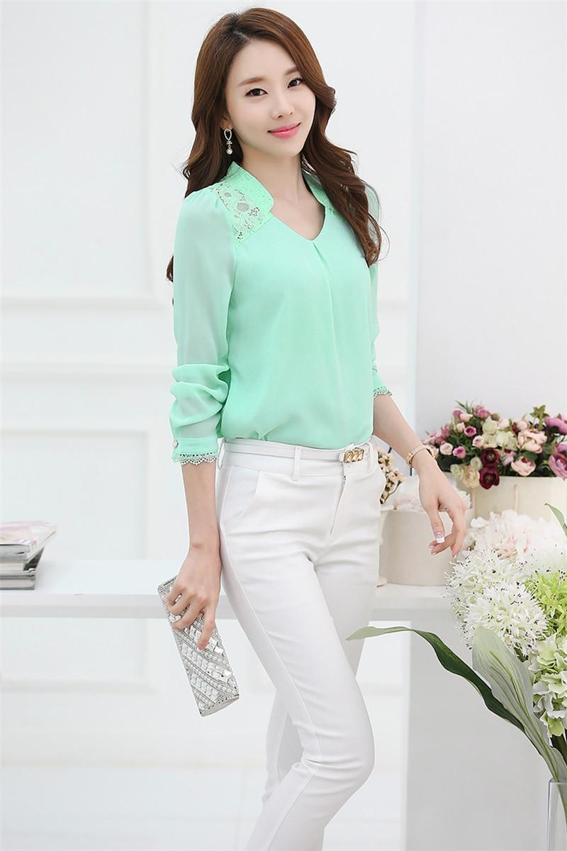 Õhuline roosa, valge või roheline pluus