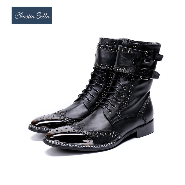Christia Bella Winter Fashion Rivets Lace Up Men Boots Bullock Carved Genuine Leather Men Boots Punk Motorcycle Boots