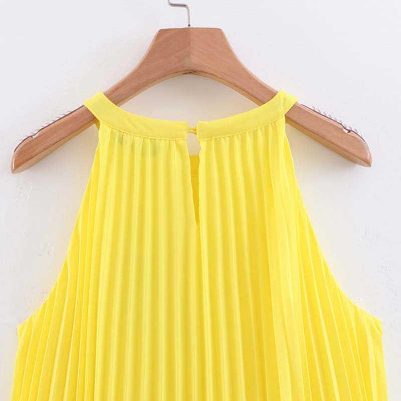 Сексуальное шифоновое желтое платье без рукавов женское летнее платье корейское Клубное вечернее платье повседневное Плиссированное пляжное мини-платье vestidos 2019