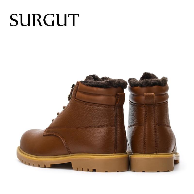 SURGUT męskie buty wysokiej jakości wodoodporne obuwie nowy jesień zima kostki buty dla mężczyzn moda buty ocieplane duży rozmiar 36 ~ 48 w Buty śnieżne od Buty na  Grupa 2