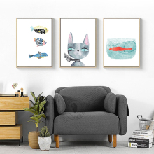 Creative Cute Cartoon Watercolor Cat Fish Print Posters Art Canvas Painting Home Decor Chic Wall Picture Living Room Cafe Shop