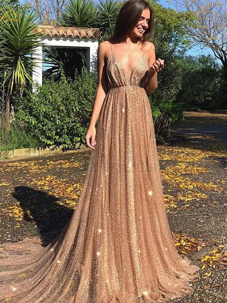 houstil Womens Sequin Straight Dress Spaghetti Strap Deep V Neck Glittering Prom Party Dress