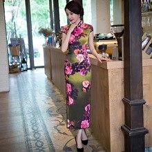 มาใหม่สตรีผ้าไหมยาวCheongsamจีนแฟชั่นสไตล์การแต่งกายที่สวยงามบางQipaoรสเสื้อผ้าขนาดSml XL XXL F071401