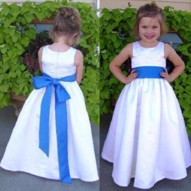 Simple Flower Girl Dress Sleeveless A line Something Blue Belt White ...