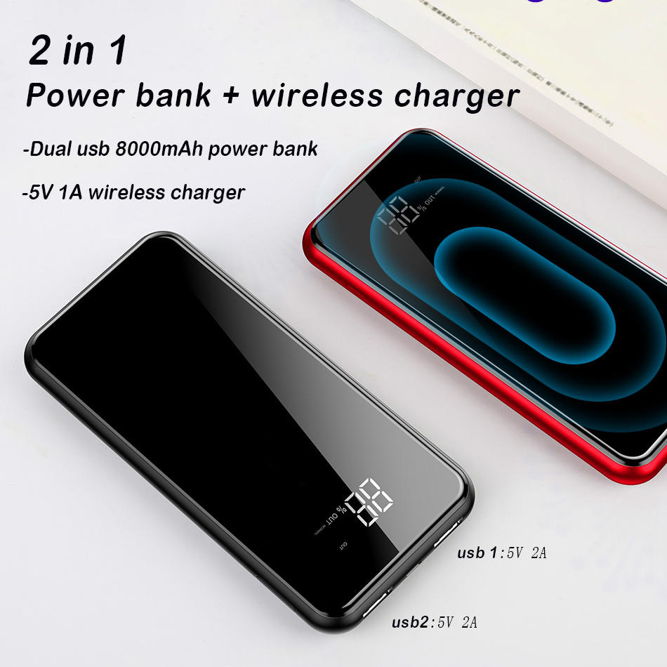 Baseus 8000mAh Power Bank QI Wireless Charger For iPhone X XS XR Samsung 5V 2A Powerbank Dual USB Charging Powerbank Phone Stand in Power Bank from Cellphones Telecommunications