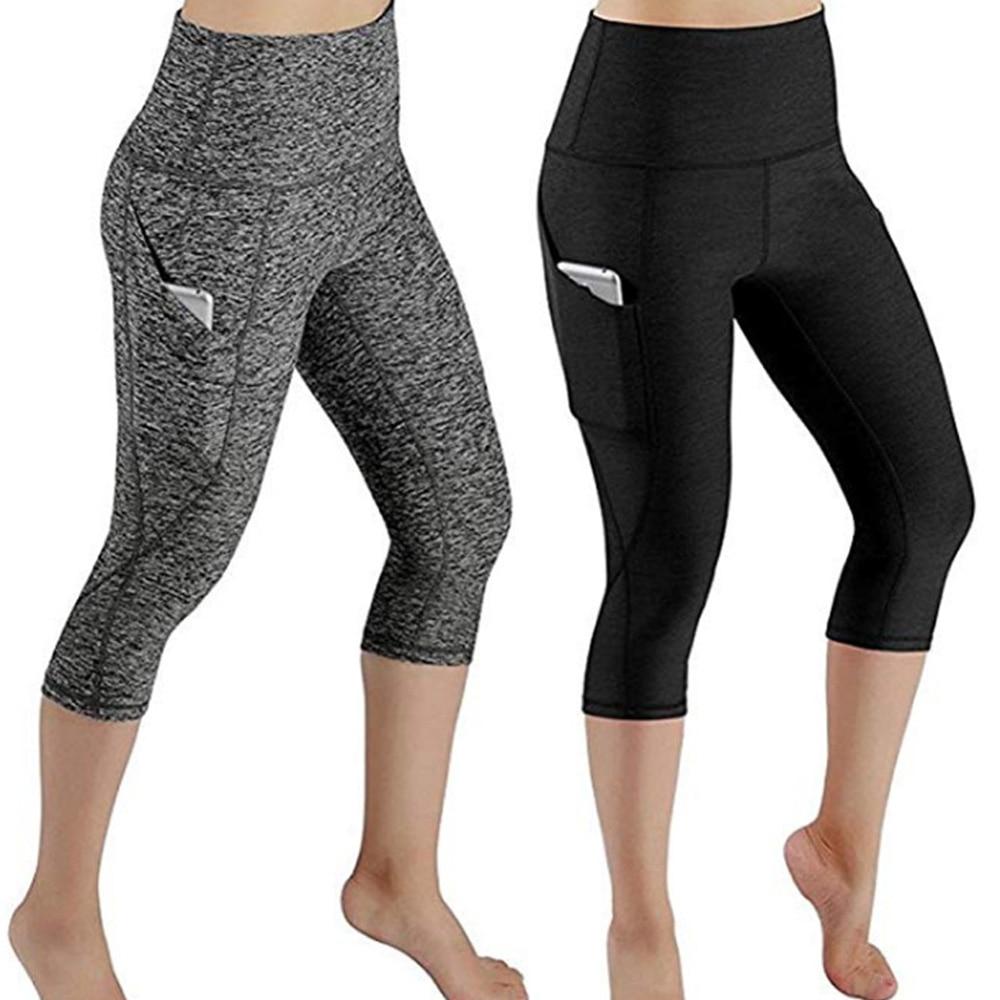 女性プリントレギンス夏スタイル黒グレーパンツポケットプラスサイズ弾性スリムフィットネスソフト Mid ふくらはぎレギンス