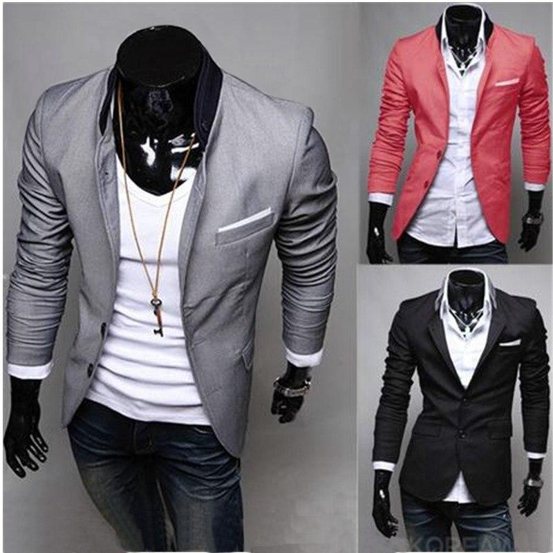 70b8bab7993a9 2019 nuevos hombres chaqueta de los hombres de la moda Collar de Color  sólido abrigos abrigo Casual para hombre Chaqueta de traje de corte Slim  plus tamaño ...