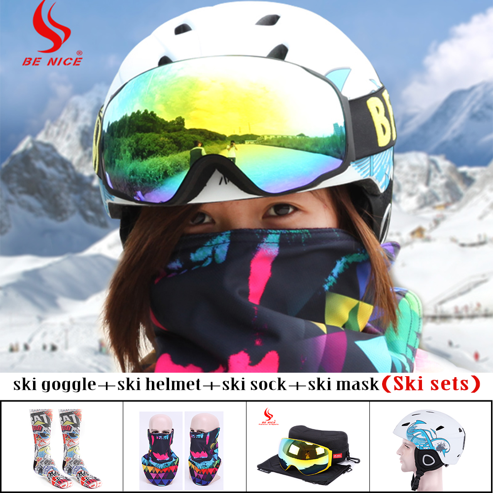 Skiing Sets UV400 Skiing goggle   Mask Skiing Helmet   Warmth Socks Professional Ski Equipment for Adults