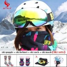 Катание на лыжах устанавливает солнечные очки uv400 лыжные очки + маска катание на лыжах шлем + тепло носки профессионального лыжного снаряжения для взрослых
