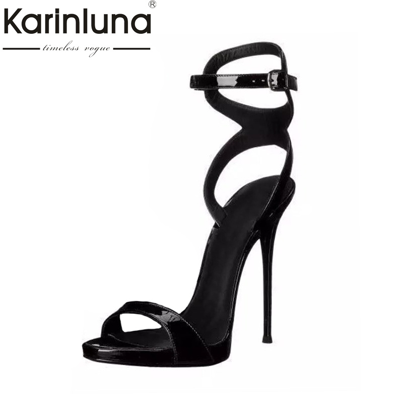 Karinluna 2018 Top Quality Buckles Large Size 33-43 Brand Shoes Sandals Sexy High Heels Party Banquet Women Shoes Woman цена