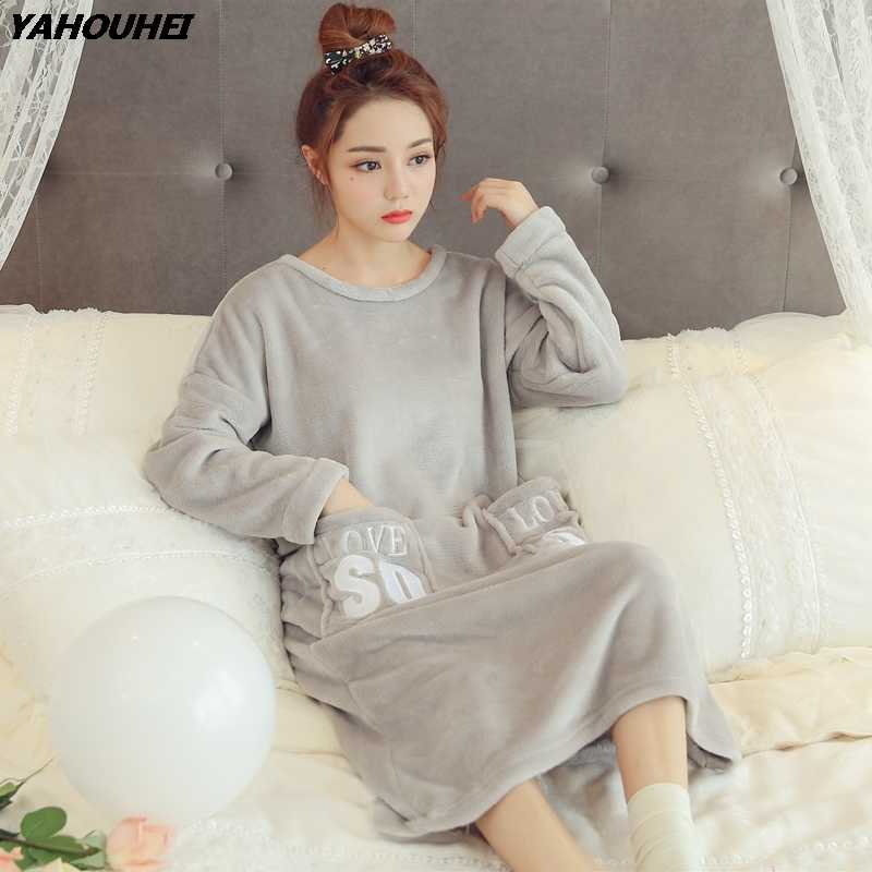 b8ae3d21f9 Thick Warm Flannel Night Dress Nightgowns for Women 2019 Winter Long Sleeve  Coral Velvet Sleepwear Femme