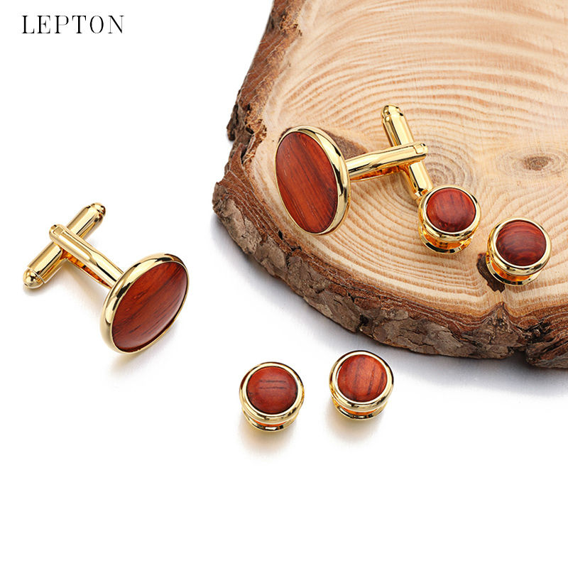 High Quality Round Wood Cufflinks Tuxedo Studs Sets Gold Color Plated Lepton Mens Cuff Links Formal Business Wedding Jewelry