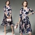 Новый Женский Европейская Мода Цветочный Дизайн Вышивки Кружева Платья Three Четверти Рукав Элегантные Дамы Колен Mesh Dress